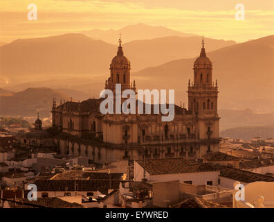 Jaen Cathedral at sunset, Jaen, Andalucia, Spain, Europe - Stock Photo