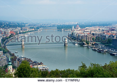Panoramic view of Danube River and the Buda and Pest sides of the city from the citadel, Budapest, Hungary, Europe - Stock Photo