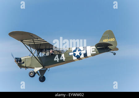 Piper L-4J Cub 48-E G-BECN built in Dec 1944 US Army military serial 44-80480 at Old Buckenham - Stock Photo