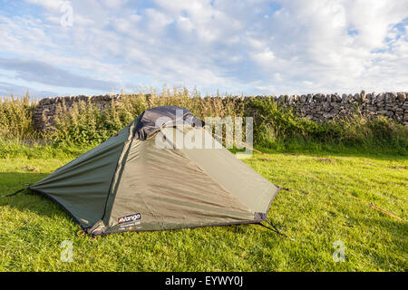 ... Small two person tent on a c&site Derbyshire England UK - Stock Photo & Small campsite with a two person tent setup in sand on beautiful ...