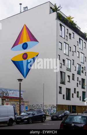 Modern Apartment building with colourful street art mural in Choriner Strasse, Berlin - Stock Photo