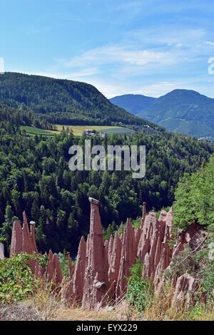Earth pyramids from Renon-Ritten, Trentino-Alto Adige / South Tyrol, Italy - Stock Photo