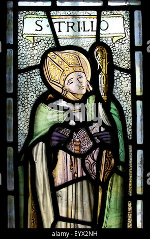 Stained Glass Window Depicting St Trillo - Stock Photo
