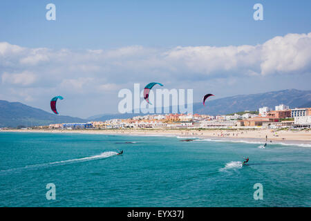 Tarifa, Cadiz Province, Costa de la Luz, Andalusia, southern Spain.  Kitesurfing off Playa de los Lances. - Stock Photo