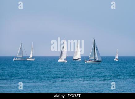 Marbella, Costa del Sol, Malaga Province, Andalusia, southern Spain.  Yacht regatta off the coast. - Stock Photo