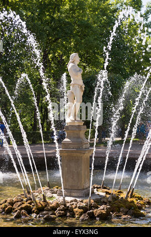 Peterhof, Saint-Petersburg, Russia - July 6,2015: Fountain 'Adam'. These sculptures and today decorate the staircase - Stock Photo