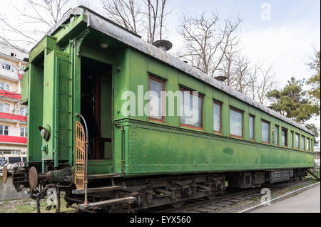 Joseph Stalin's train carriage at the museum dedicated to the infamous leader in Gori, Georgia, Eurasia. - Stock Photo
