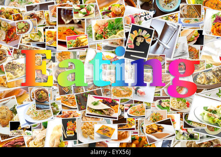 Collage of lots of popular worldwide dinner foods and appetizers - Stock Photo
