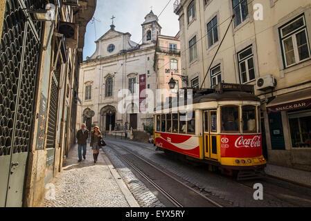 Streetcar No. 28 at Baixa Chiado in Lisbon,Portugal - Stock Photo