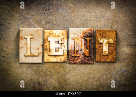 The word 'LENT' written in rusty metal letterpress type on an old aged leather background. - Stock Photo