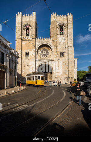 Church of Santo Antonio and streetcar in Lisbon - Stock Photo