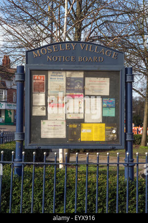 A notice board in Moseley Village which is being featured in the urban section of 'Best Places to Live', Birmingham - Stock Photo