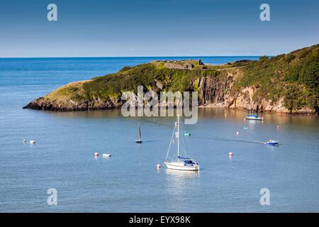 Fishguard Fort overlooking Fishguard Bay, Fishguard, Pembrokeshire, Wales, UK - Stock Photo