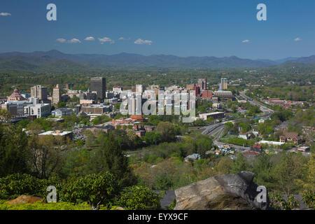 DOWNTOWN SKYLINE ASHEVILLE BUNCOMBE COUNTY NORTH CAROLINA USA - Stock Photo