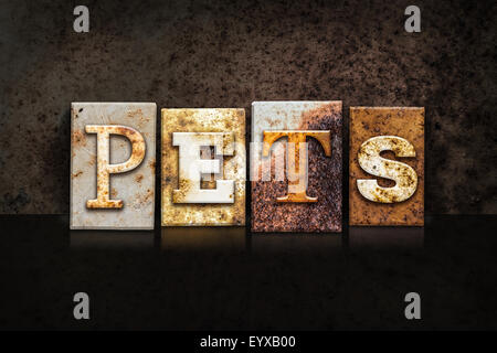 The word 'PETS' written in rusty metal letterpress type on a dark textured grunge background. - Stock Photo