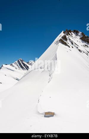 View from Mönchsjoch Hutte by the Aletsch glacier - Stock Photo