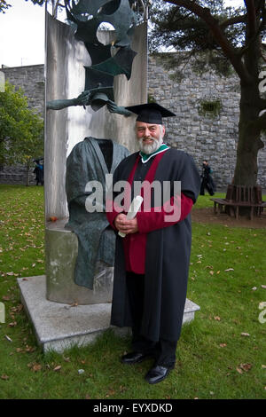 Mature Student Graduating from Galway University (NUI), Galway City, Ireland - Stock Photo