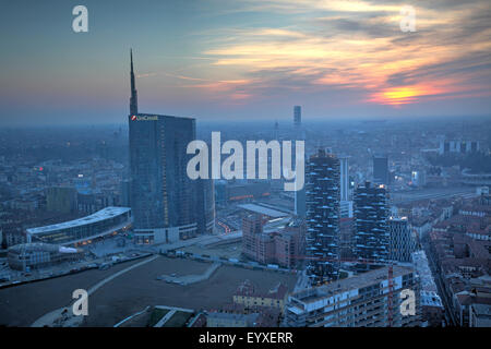 Cityscape of Milan from the top of Lombardy building, Milan, Italy - Stock Photo