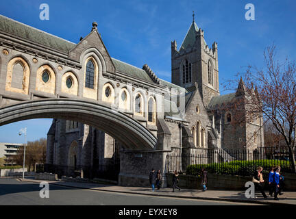 19th Century stone bridge from the Synod Hall (left) to Christ Church Cathedral, Founded 1030, Rebuilt in 1878, - Stock Photo