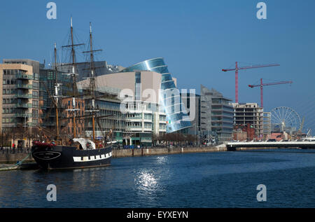 'Jeanie Johnston'  launched 6th May, 2000, Reconstructed Famine Ship and Museum on the River Liffey, Dublin City, - Stock Photo