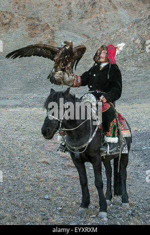 Kazakh eagle hunter with his un-hooded golden eagle held high #2, on the steppes of Western Mongolia, west of Olgii - Stock Photo