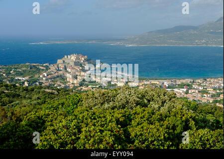 View of Notre Dame de La Serra to Calvi, Haute-Corse, Corsica, France - Stock Photo