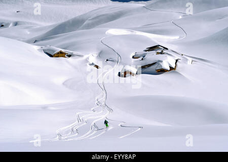 off-piste skiing in the French Alps, France, Savoie, Vanoise National Park, Courchevel - Stock Photo