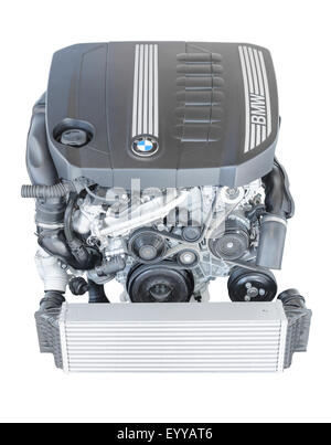 New modern powerful flagship model of car engine. BMW TwinPower turbo 3.0 litre 6-cylinder top-of-the-range diesel - Stock Photo