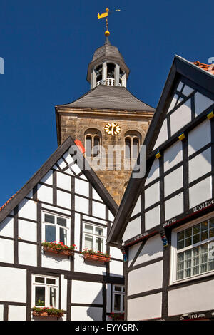 timbered houses and church in the old town of Tecklenburg, Germany, North Rhine-Westphalia, Tecklenburger Land, - Stock Photo