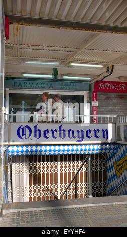entrance to Oberbayern party place, Spain, Balearen, Majorca, Platja de Palma - Stock Photo