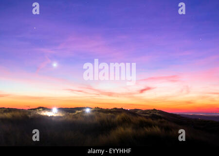 planet Venus over island Juist, Germany, Lower Saxony, Juist - Stock Photo