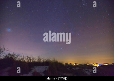 Jupiter and Orion over island Juist, Germany, Lower Saxony, Juist - Stock Photo