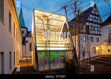 Wedinghausen monastery with light house 'Lichthaus' in the evening, Germany, North Rhine-Westphalia, Sauerland, - Stock Photo