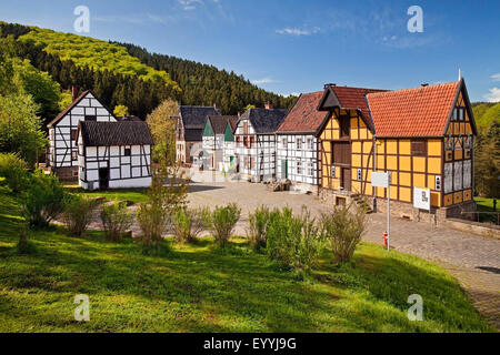 half-timbered houses of Hagen Open-air Museum, Germany, North Rhine-Westphalia, Ruhr Area, Hagen - Stock Photo