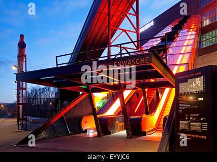 illuminated gangway to Ruhr Museum, Zollverein, Germany, North Rhine-Westphalia, Ruhr Area, Essen - Stock Photo