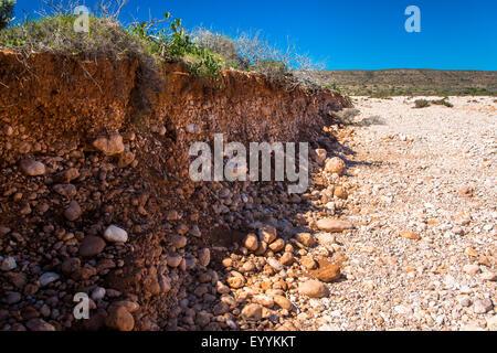 erorion in dry river bed, Australia, Western Australia, Cape Range National Park - Stock Photo