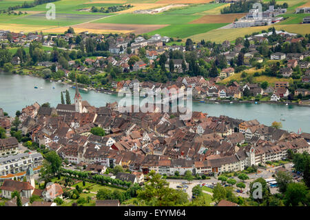 view from Castle Hohenklingen onto the historic town Stein am Rhein and the mouth of the Rhine, Switzerland, Schaffhausen, - Stock Photo