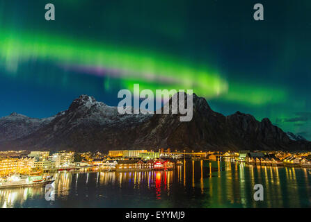 polar light above Svolaer, Norway, Lofoten Islands, Svolvaer - Stock Photo