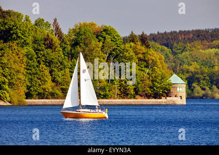 sailboat on Moehne Reservoir, Germany, North Rhine-Westphalia, Sauerland, Moehnesee - Stock Photo