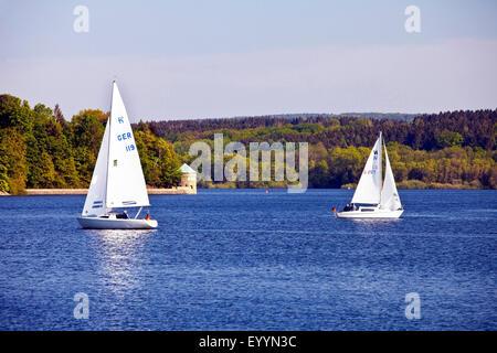 sailboats on Moehne Reservoir, Germany, North Rhine-Westphalia, Sauerland, Moehnesee - Stock Photo