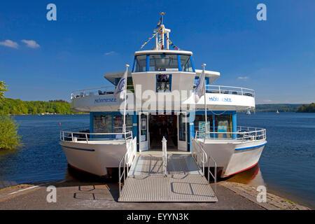 excursion boat MS Moehnesee on Moehne Reservoir, Germany, North Rhine-Westphalia, Sauerland, Moehnesee - Stock Photo