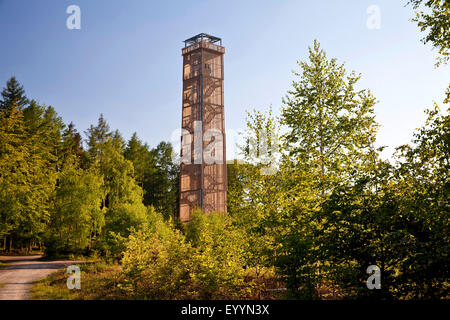 lake Moehne tower in the Arnsberg Forest, watch tower at the barrage, Germany, North Rhine-Westphalia, Sauerland - Stock Photo