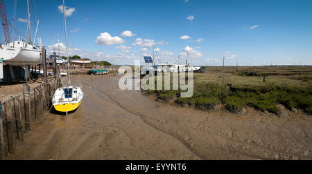 Tollesbury Saltings on the Essex coast at low tide - Stock Photo