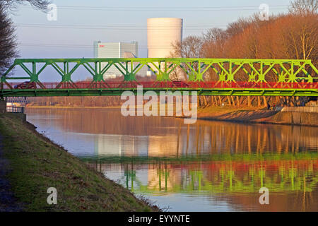 Lucas bridge and Dortmund Ems Canal, E.ON power plant in background, Germany, North Rhine-Westphalia, Ruhr Area, - Stock Photo