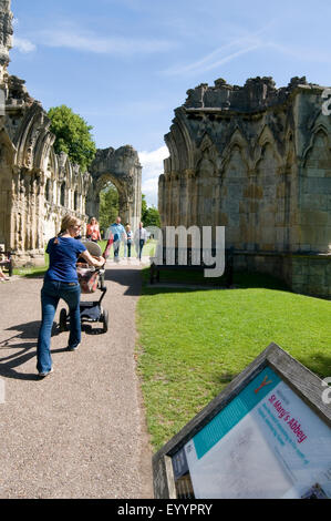 st mary's abbey museum gardens in york uk ruins park public - Stock Photo