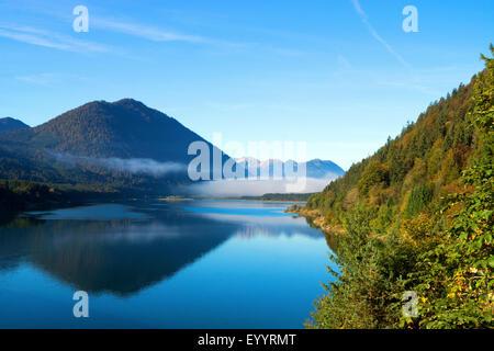 Sylvenstein storage lake, Germany, Bavaria, Sylvensteinstausee - Stock Photo