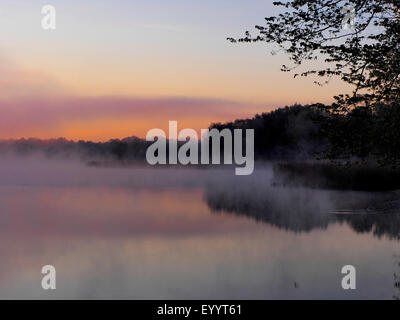 morning mood at a lake, Germany, Brandenburg, Koerba/Niederer Flaeming - Stock Photo