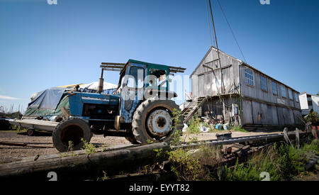Old tractor and old supplies shed at Tollesbury Saltings on the Essex Coast - Stock Photo