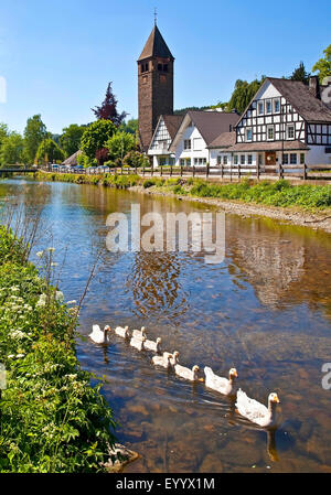 River Lenne district Saalhausen, Germany, North Rhine-Westphalia, Sauerland, Lennestadt - Stock Photo