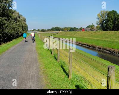 bike way on embankment of canalised river Emscher, Germany, North Rhine-Westphalia, Ruhr Area, Oberhausen - Stock Photo